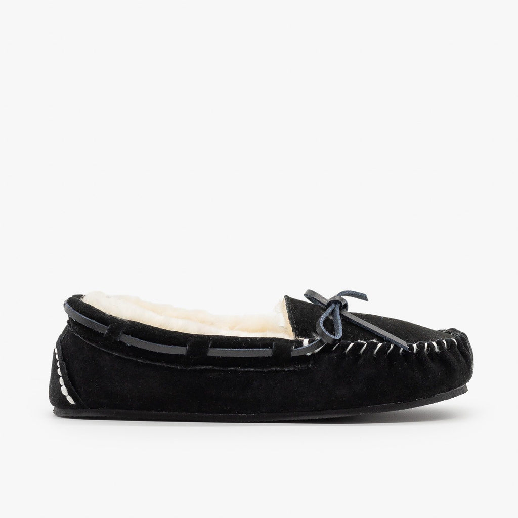 Womens Genuine Leather + Sheepskin Moccasin Flats - Glister - Black / 5