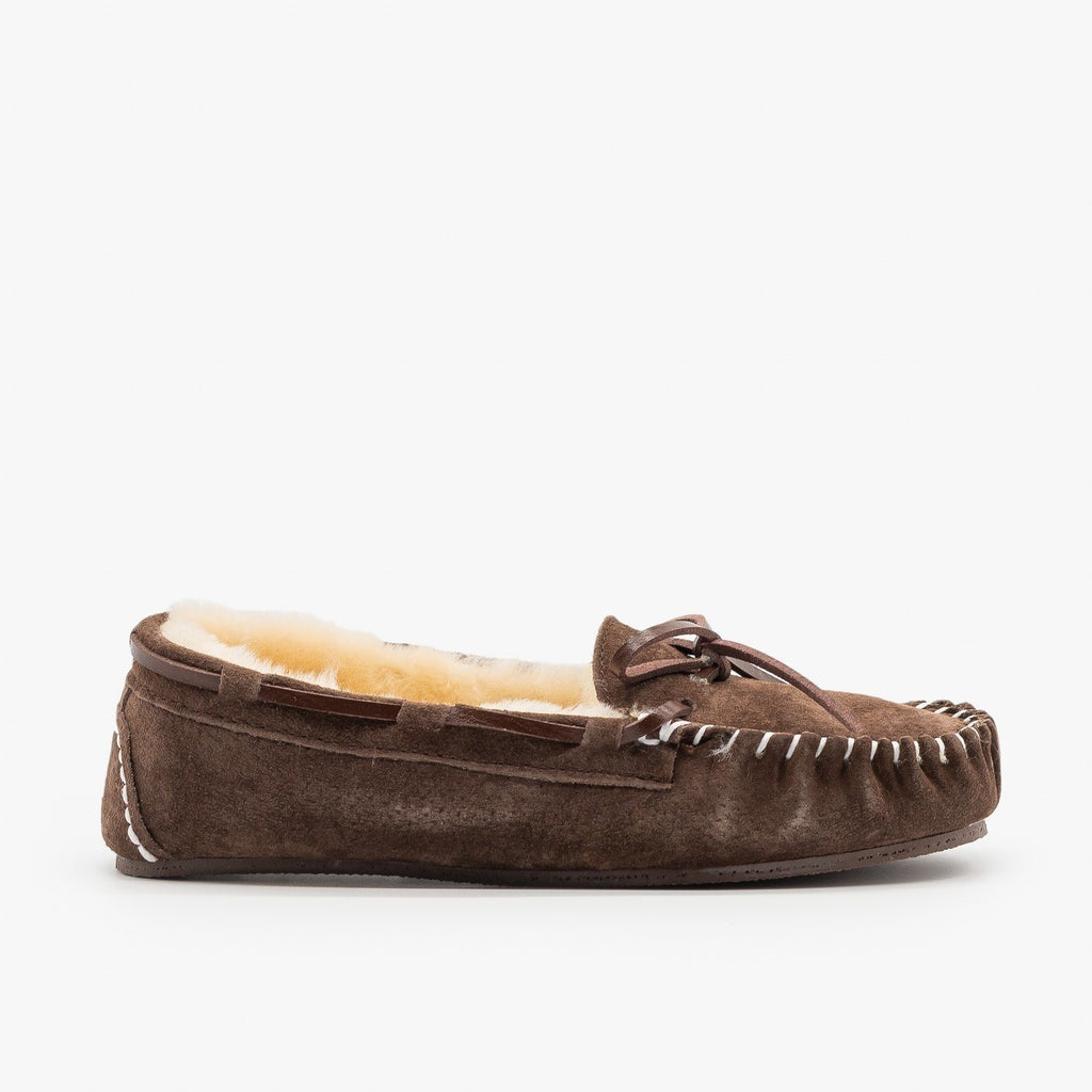 Womens Genuine Leather + Sheepskin Moccasin Flats - Glister - Brown / 5