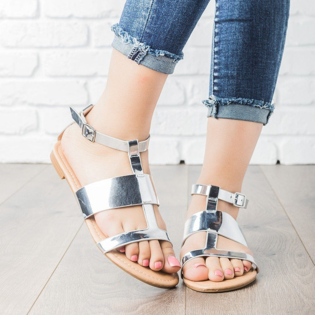 Womens Geo Faux Leather Sandals - Dollhouse Shoes - Silver / 5