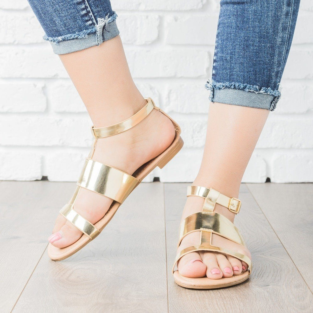 Womens Geo Faux Leather Sandals - Dollhouse Shoes - Gold / 5