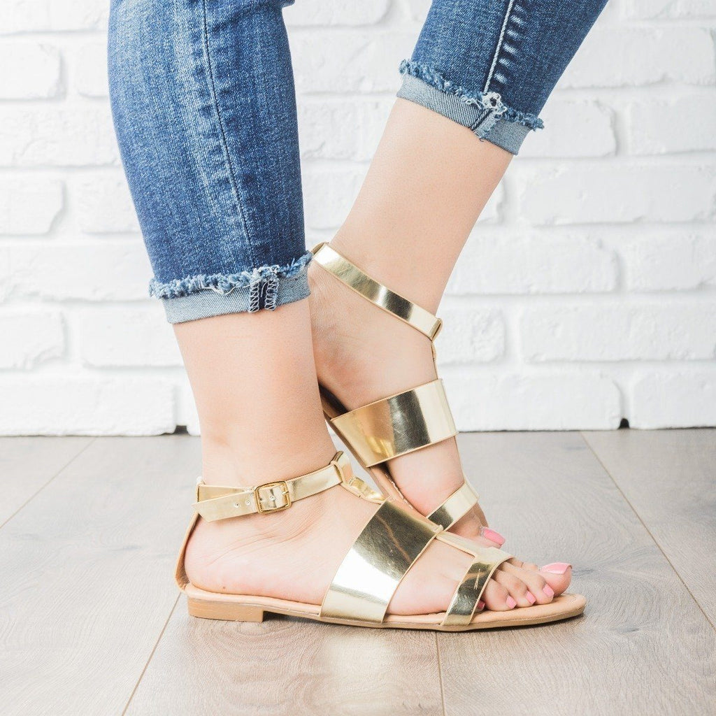 Womens Geo Faux Leather Sandals - Dollhouse Shoes