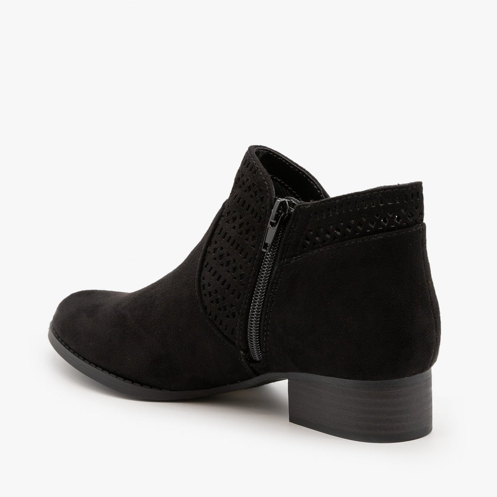 Womens Geometric Design Ankle Bootie - City Classified Shoes