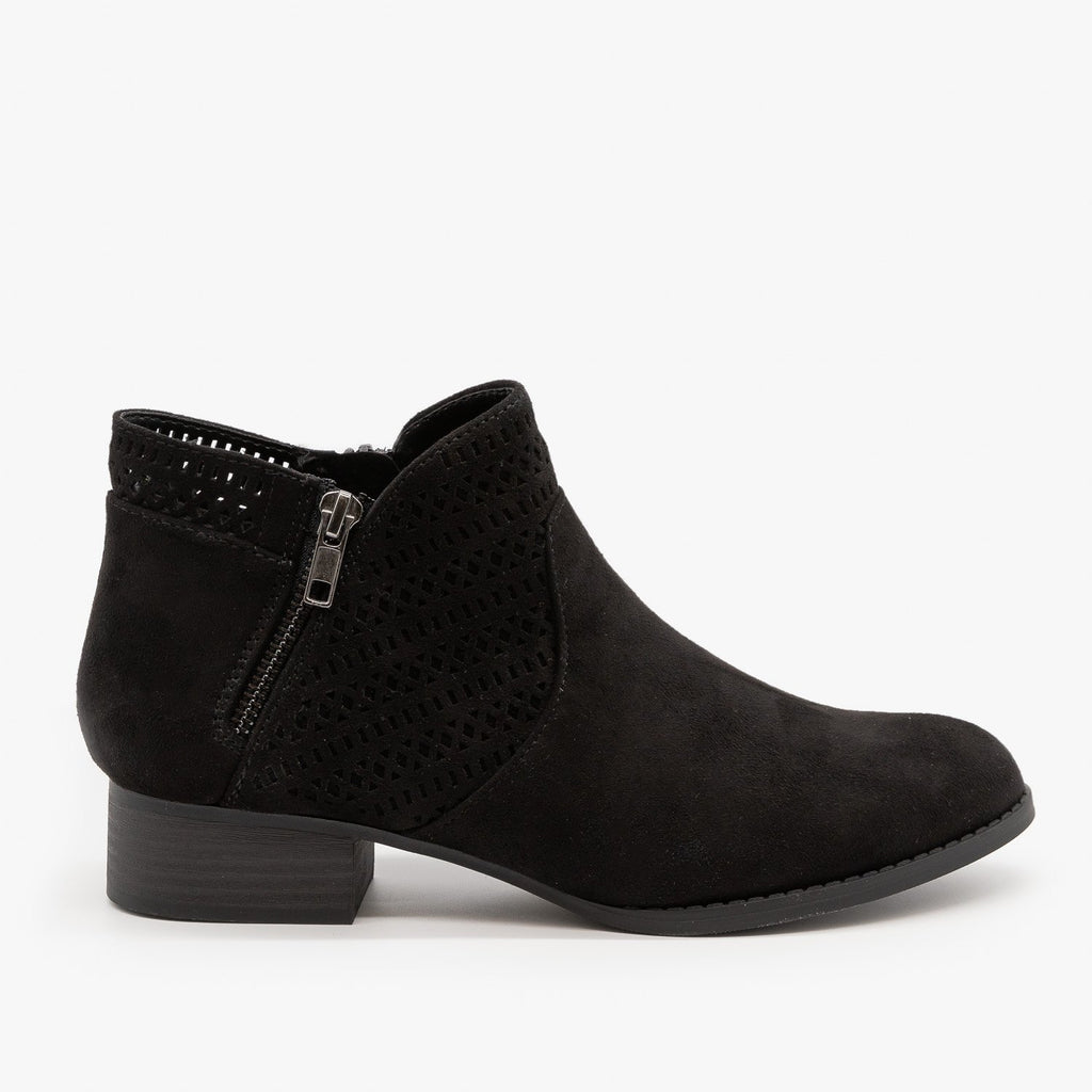 Womens Geometric Design Ankle Bootie - City Classified Shoes - Black / 5