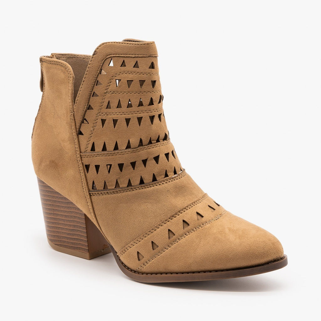 Womens Geometric Laser Cut Ankle Booties - Nature Breeze - Beige / 5