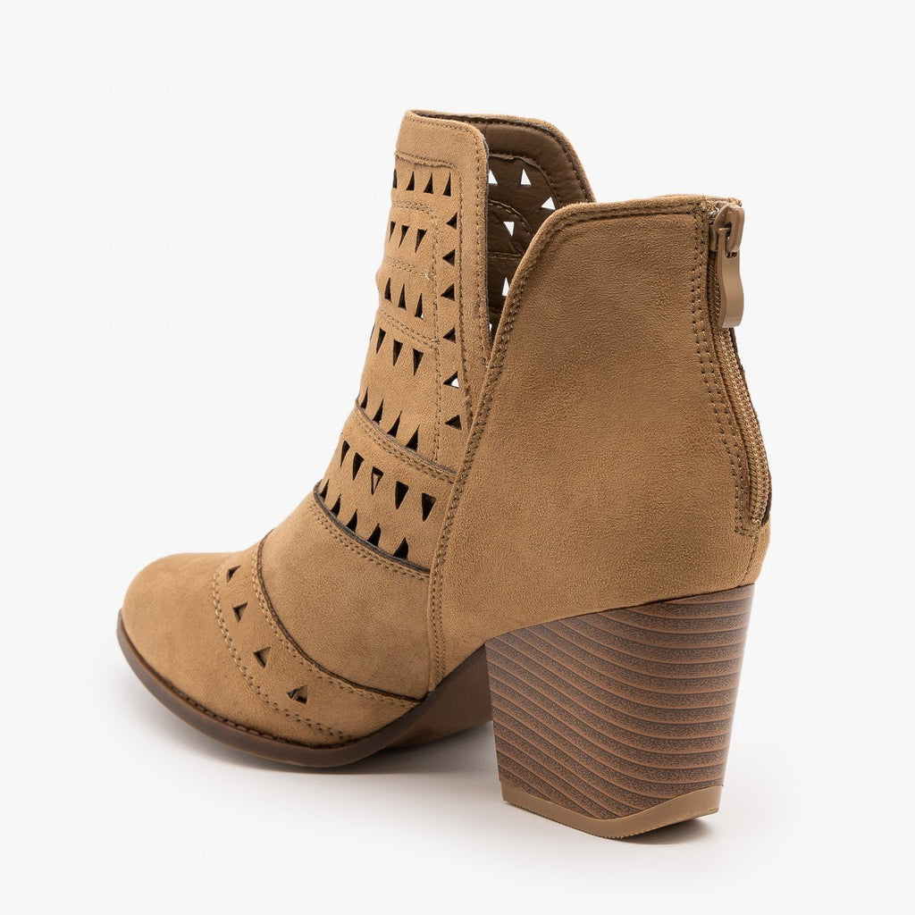 Womens Geometric Laser Cut Ankle Booties - Nature Breeze