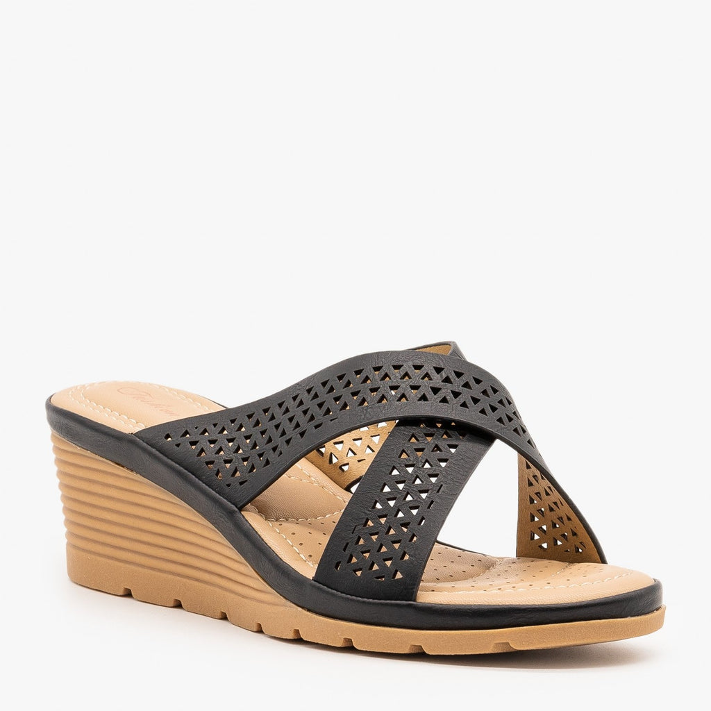 Womens Geometric Laser Cut Comfort Wedges - Fashion Focus