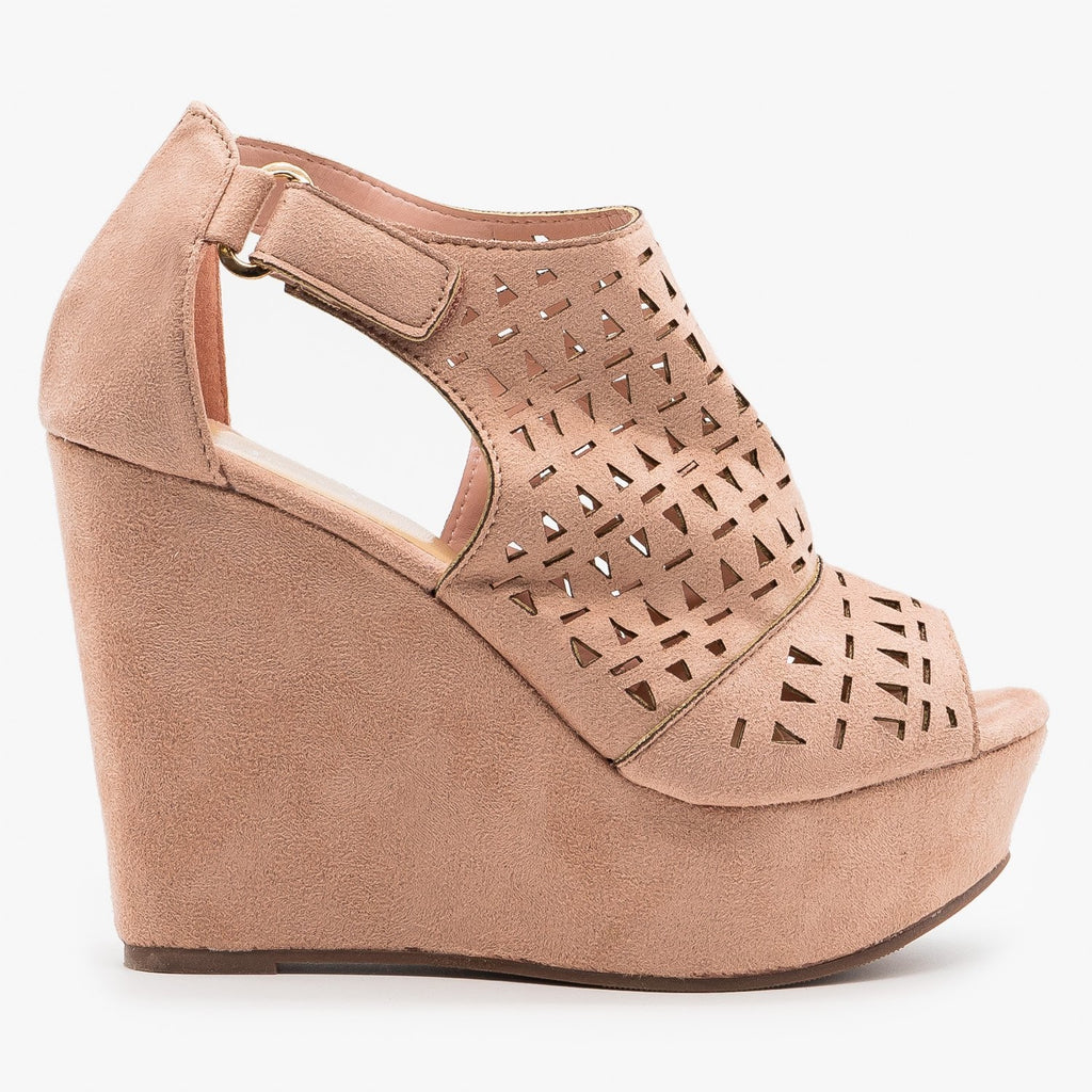 Womens Geometric Laser Cut Platform Wedges - Refresh - Mauve / 5