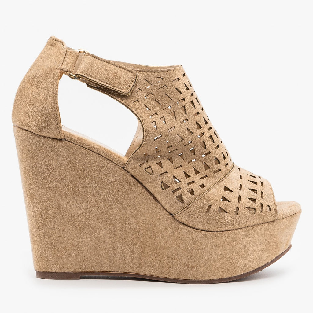Womens Geometric Laser Cut Platform Wedges - Refresh - Taupe / 5