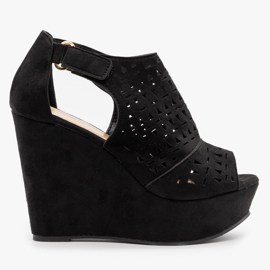 Womens Geometric Laser Cut Platform Wedges - Refresh - Black / 5