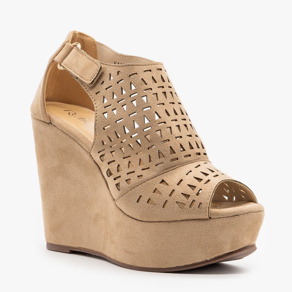 Womens Geometric Laser Cut Platform Wedges - Refresh