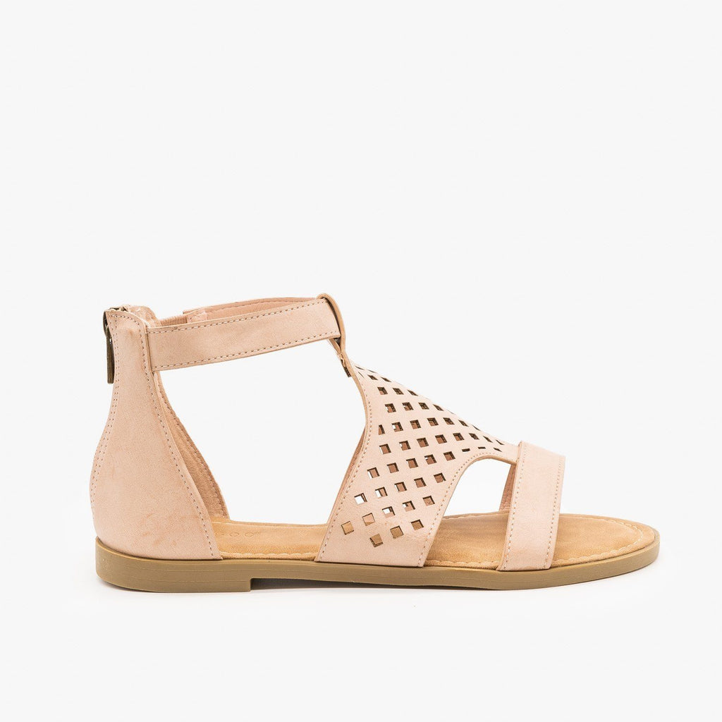 Womens Geometric Laser Cut Sandals - Bamboo - Nude / 5