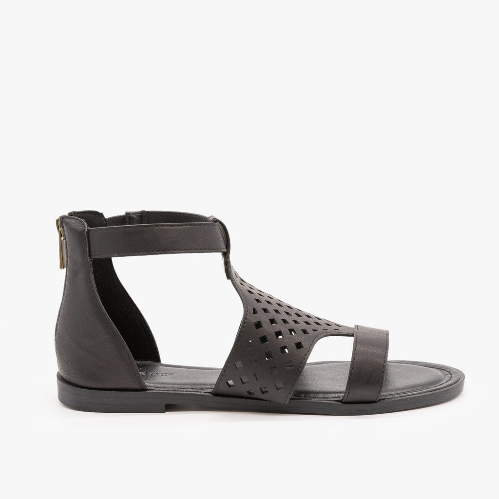 Womens Geometric Laser Cut Sandals - Bamboo - Black / 5