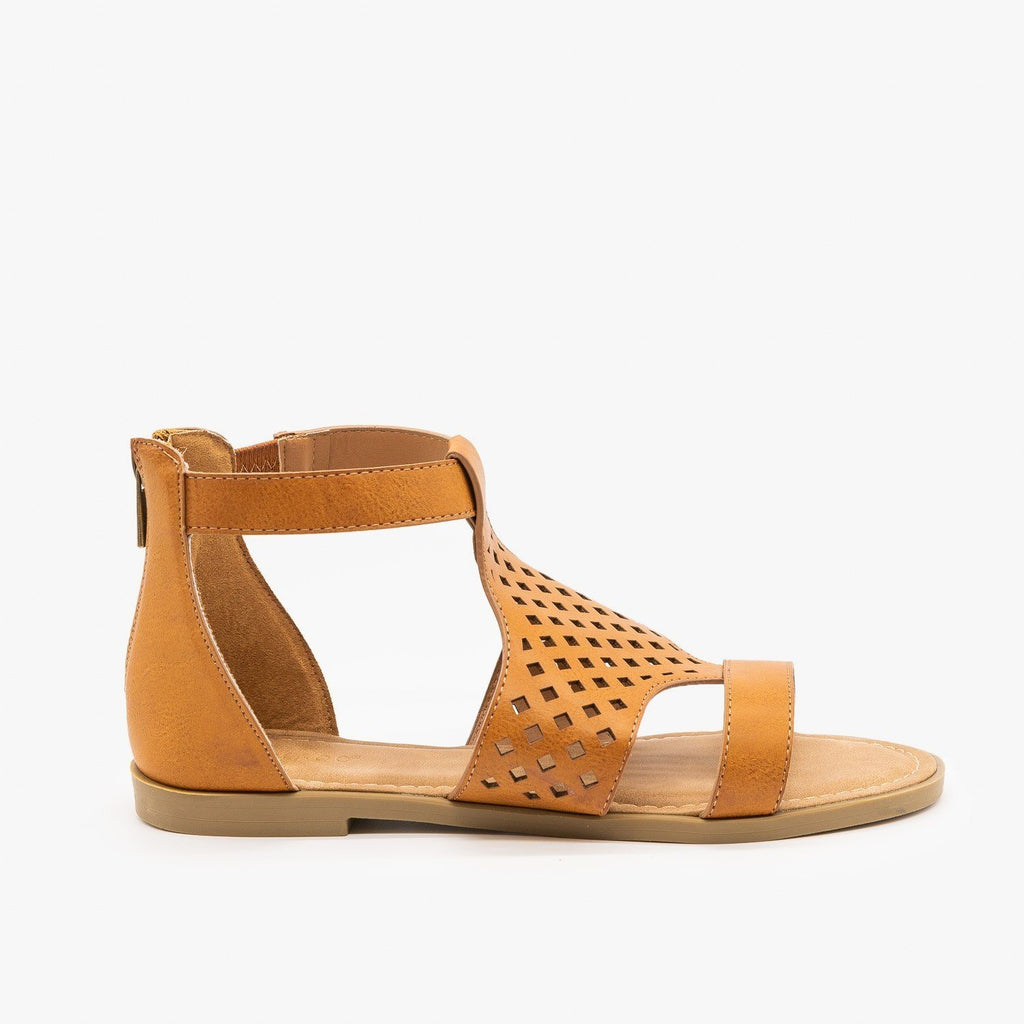 Womens Geometric Laser Cut Sandals - Bamboo - Tan / 5