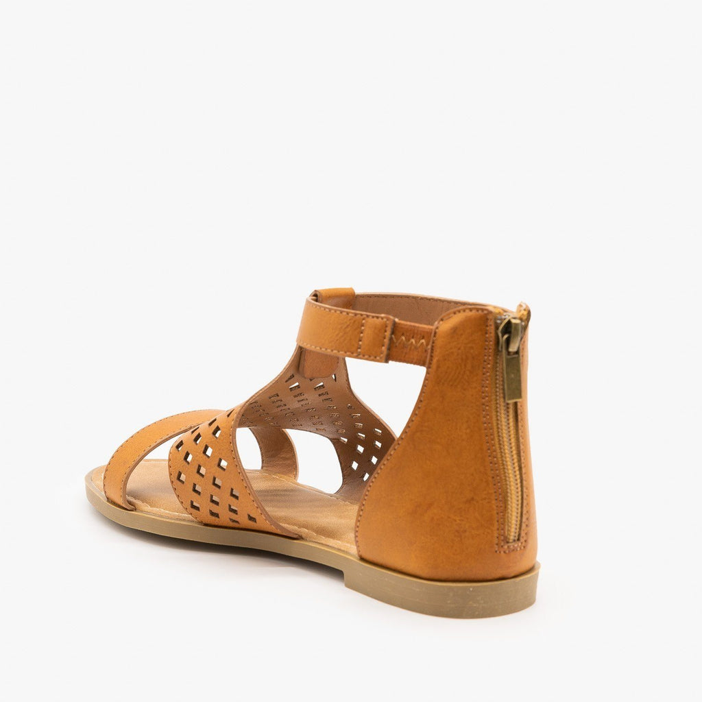 Womens Geometric Laser Cut Sandals - Bamboo