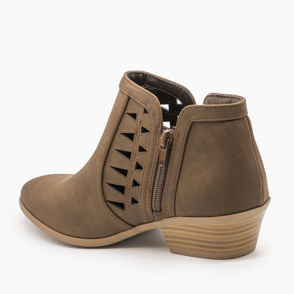 Womens Geometric Side Laser Cut Ankle Booties - Soda Shoes