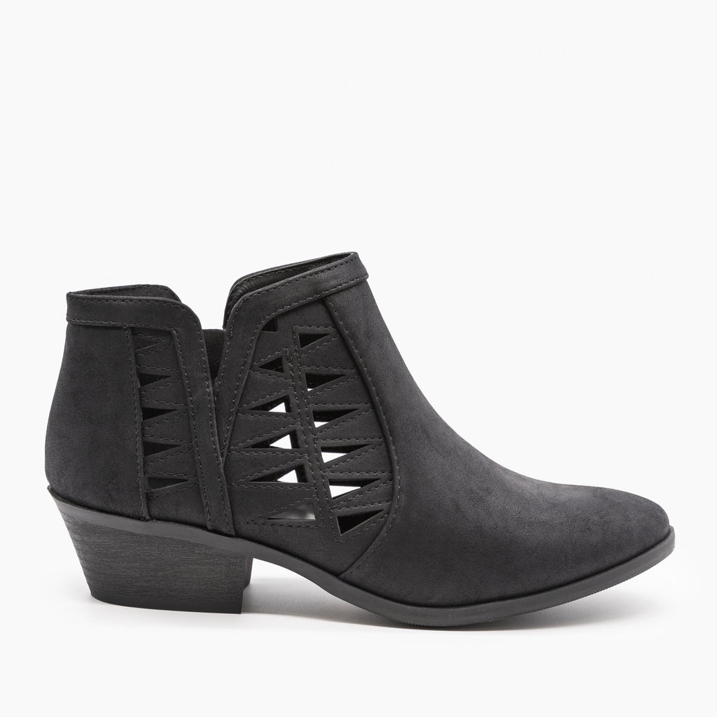 Womens Geometric Side Laser Cut Ankle Booties - Soda Shoes - Black / 5