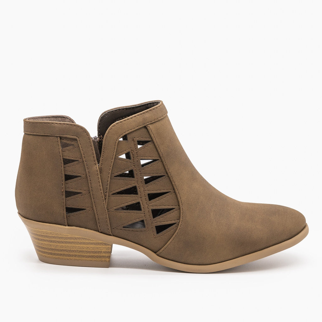 Womens Geometric Side Laser Cut Ankle Booties - Soda Shoes - Light Brown / 5