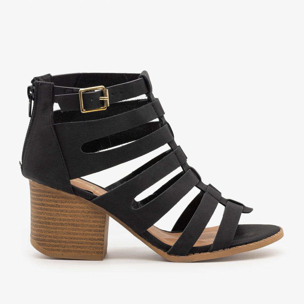Womens Gladiator Chunky Heel Sandal - Qupid Shoes - Black / 5