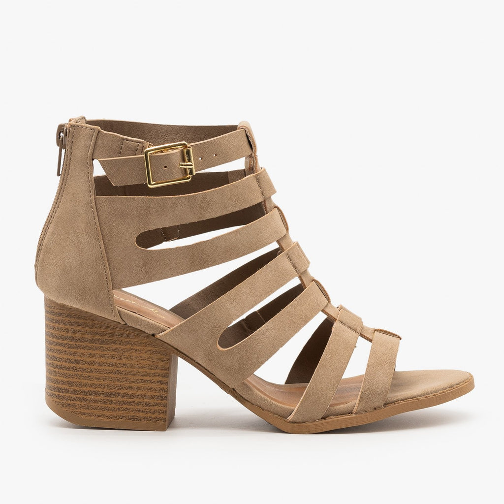 Womens Gladiator Chunky Heel Sandal - Qupid Shoes - Taupe / 5