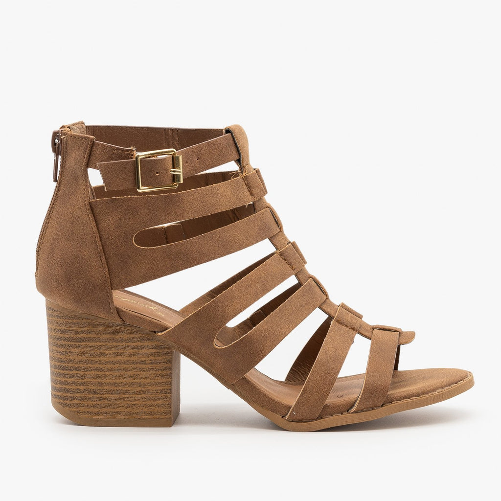 Womens Gladiator Chunky Heel Sandal - Qupid Shoes - Cognac / 5