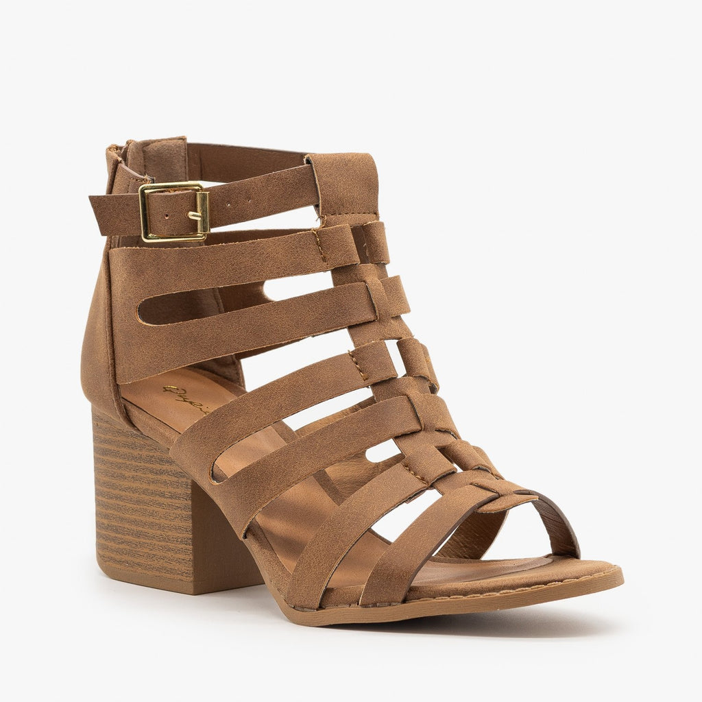 Womens Gladiator Chunky Heel Sandal - Qupid Shoes