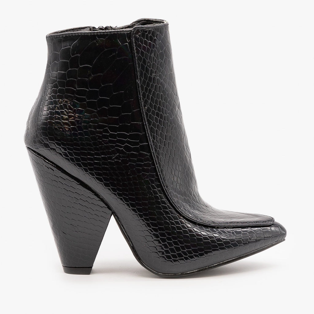 Womens Glam Black Python Print Booties - Mata - Black / 5