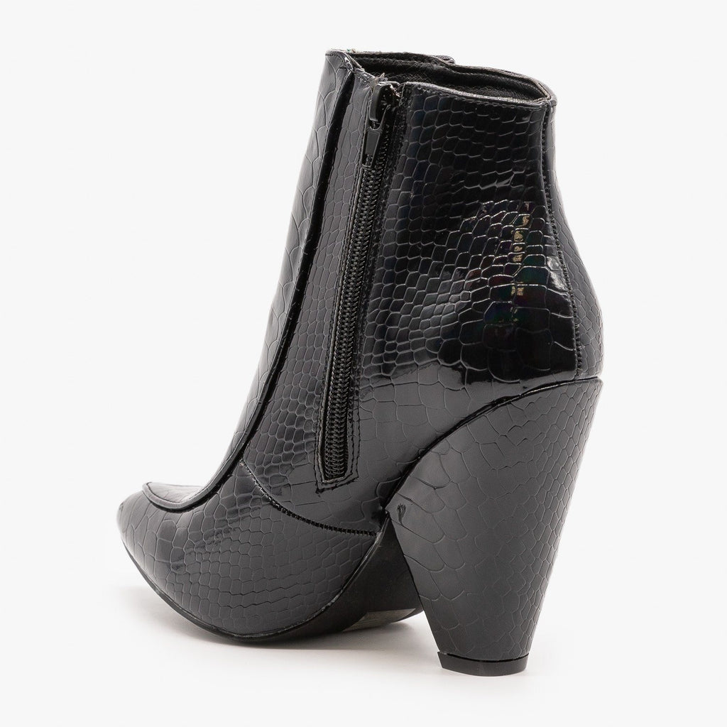 Womens Glam Black Python Print Booties - Mata