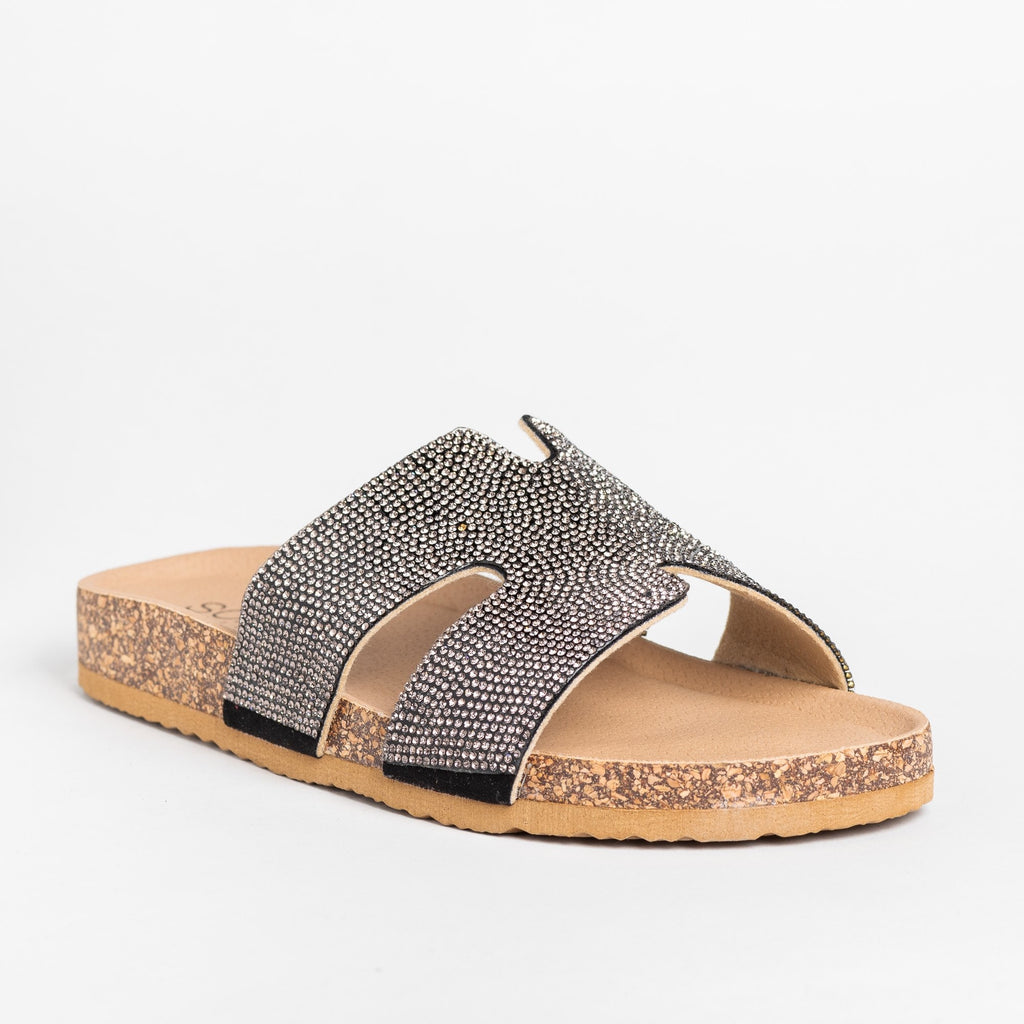 Womens Glam Cutout Comfy Cork Slides - Soho Girls - Black / 5