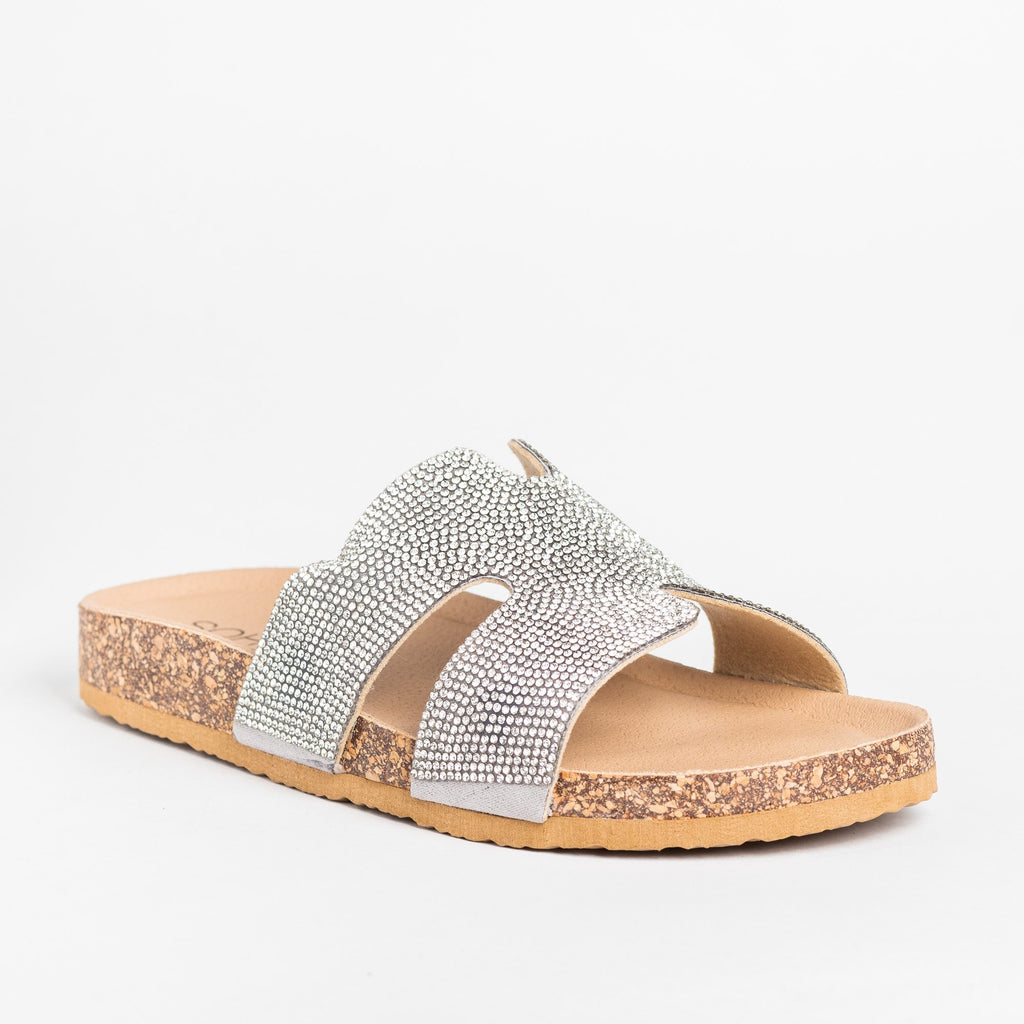 Womens Glam Cutout Comfy Cork Slides - Soho Girls - Silver / 5