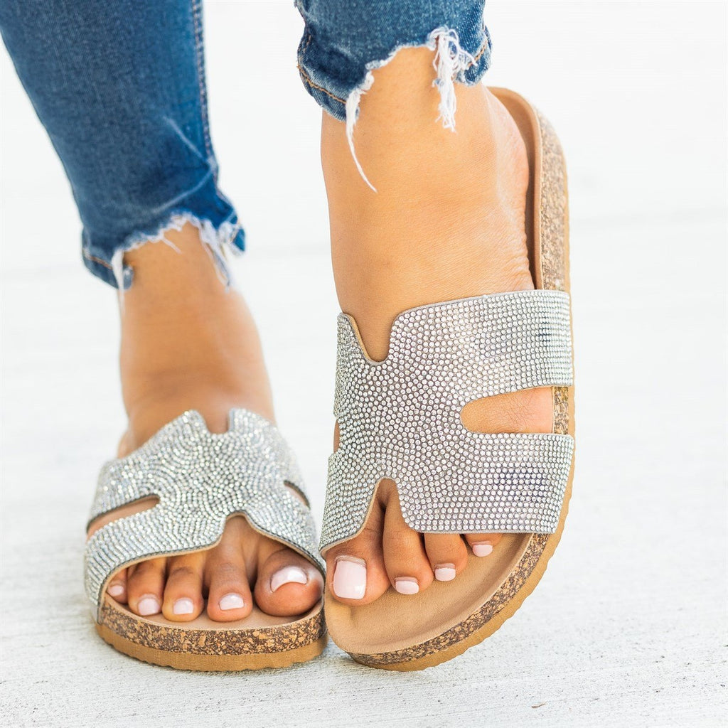 Womens Glam Cutout Comfy Cork Slides - Soho Girls