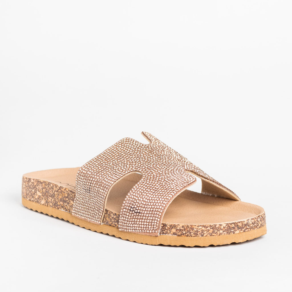 Womens Glam Cutout Comfy Cork Slides - Soho Girls - Rose Gold / 5