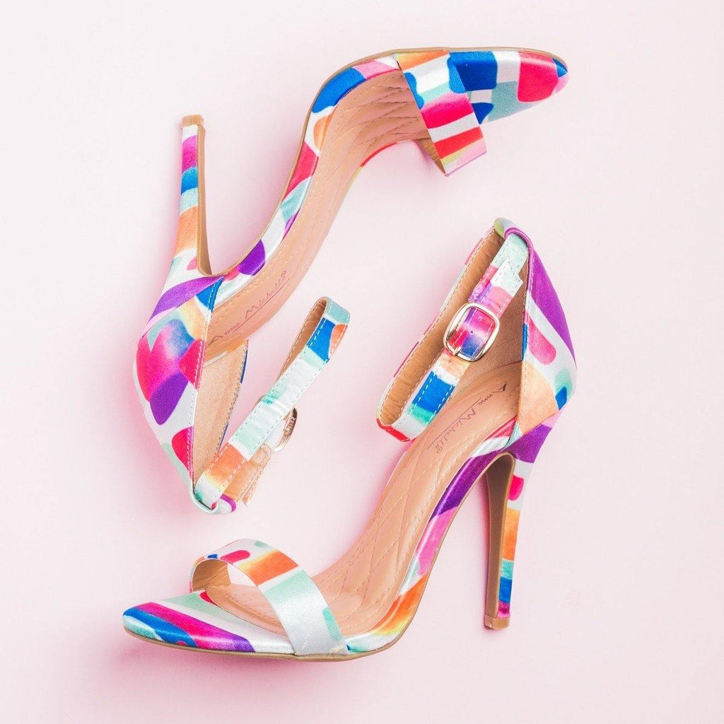 Womens Glam Patterned High Heels - Anne Michelle