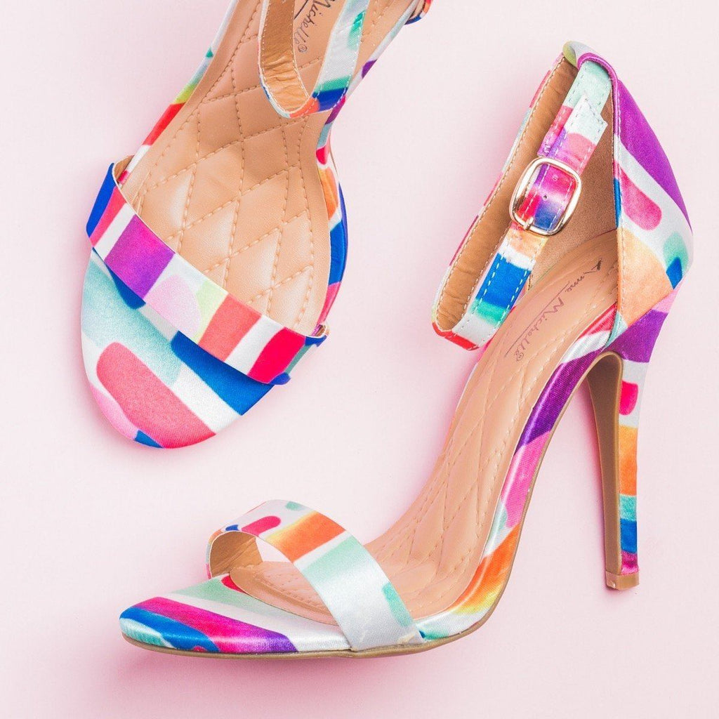 Womens Glam Patterned High Heels - Anne Michelle - Rainbow Multi / 5