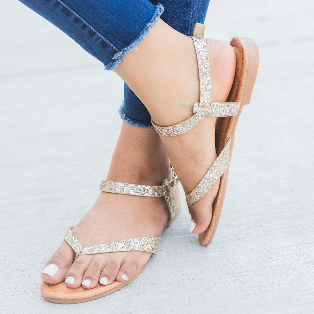 Womens Glitter Ankle Strap Sandals - Forever - Gold / 5