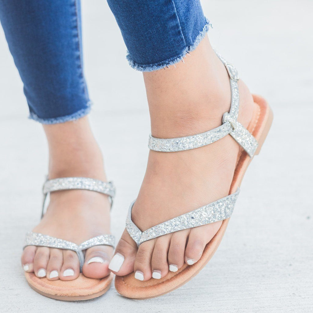 Womens Glitter Ankle Strap Sandals - Forever - Silver / 7