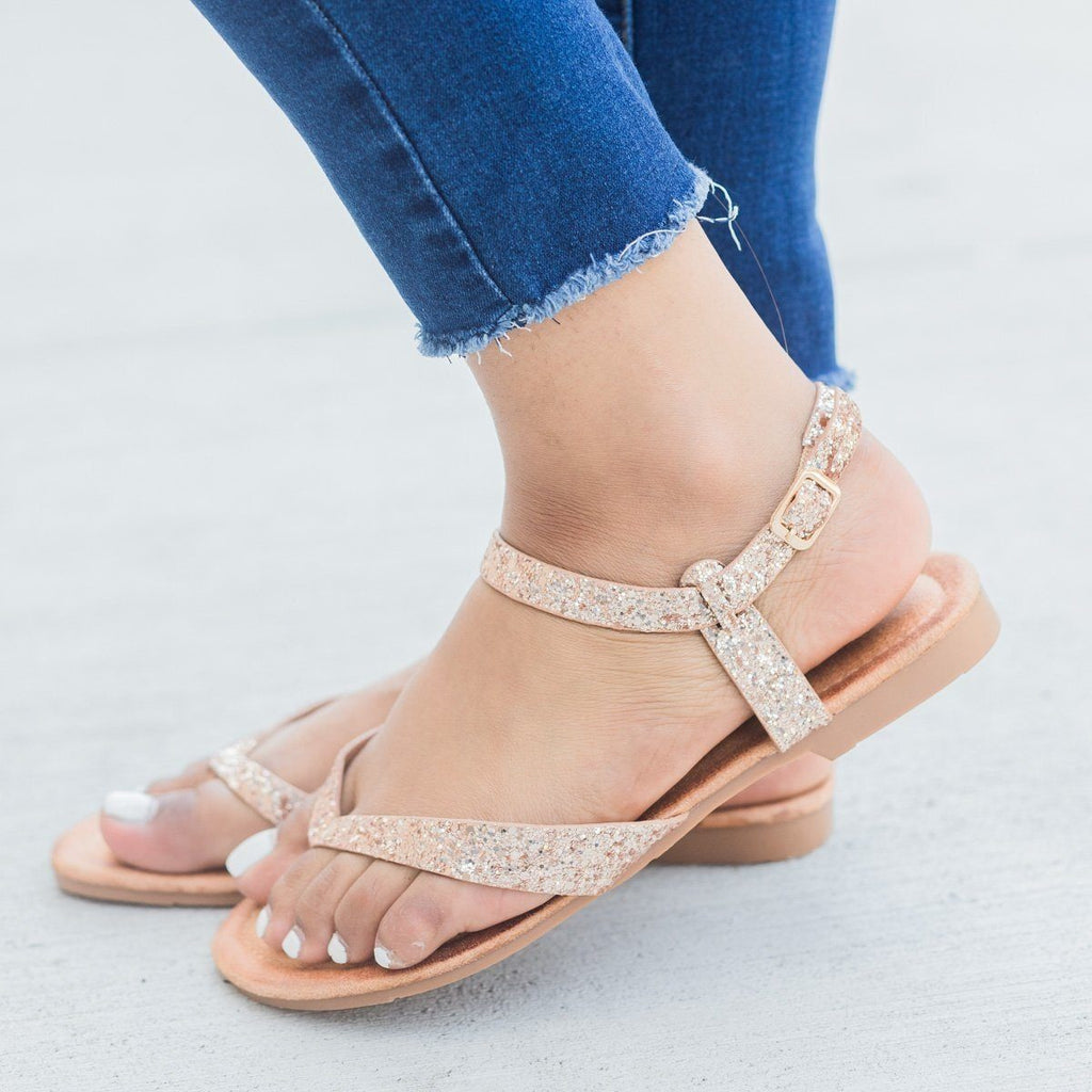 Womens Glitter Ankle Strap Sandals - Forever - Rose Gold / 5