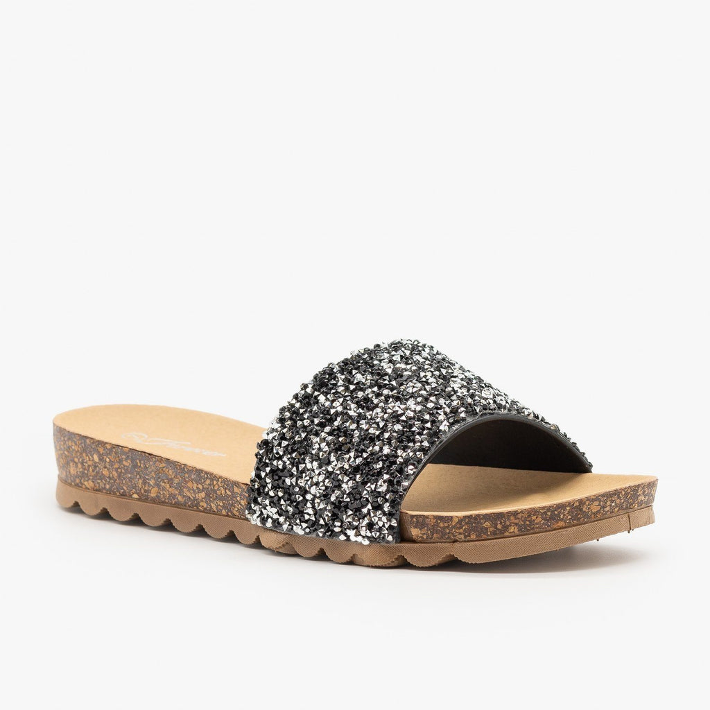 Womens Glitter Cork Slides - Forever - Black / 5