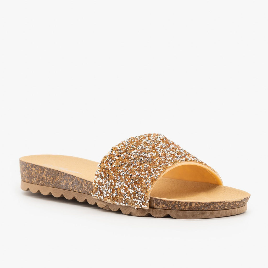 Womens Glitter Cork Slides - Forever - Rose Gold / 5
