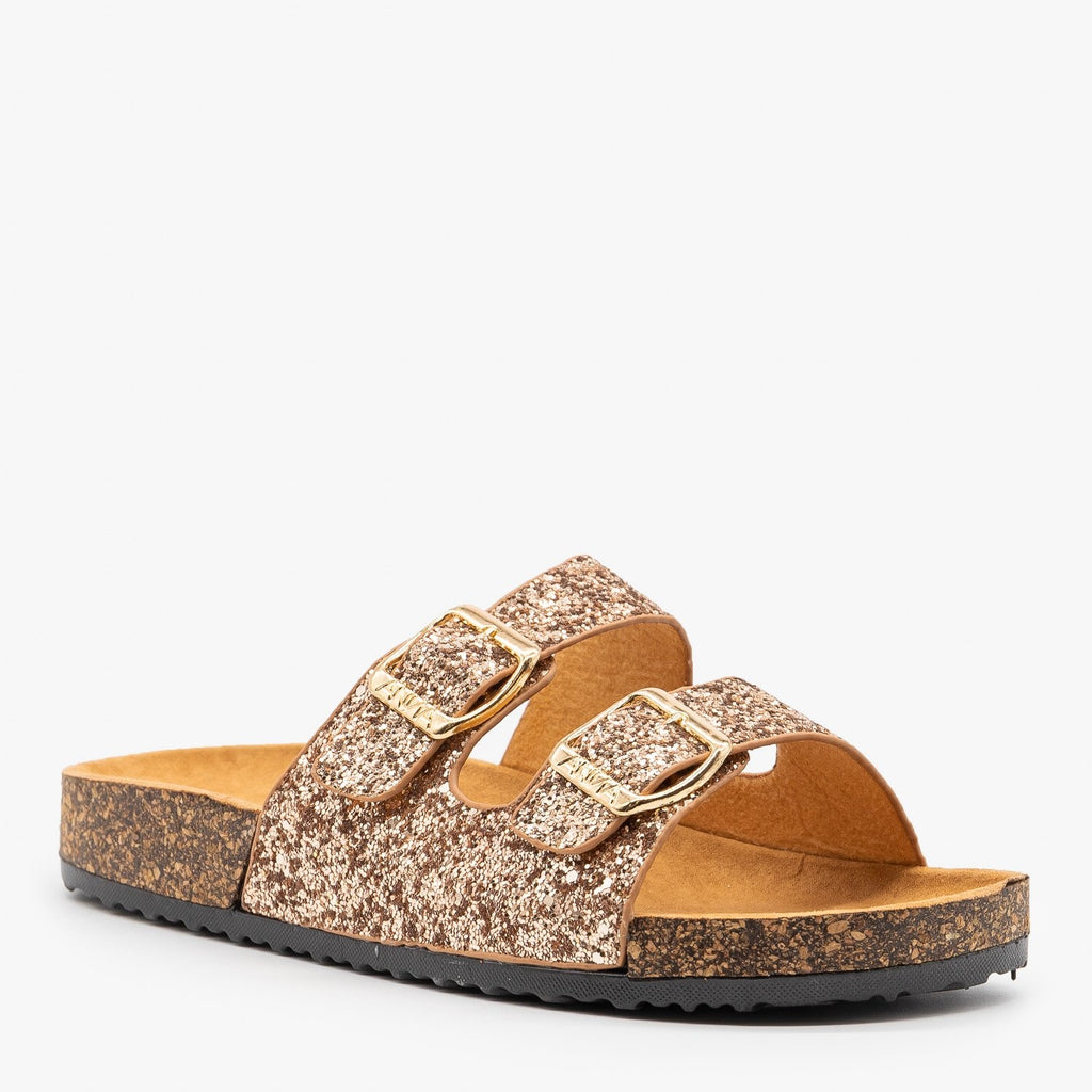Womens Glitter Double Buckle Cork Sandals - Anna Shoes