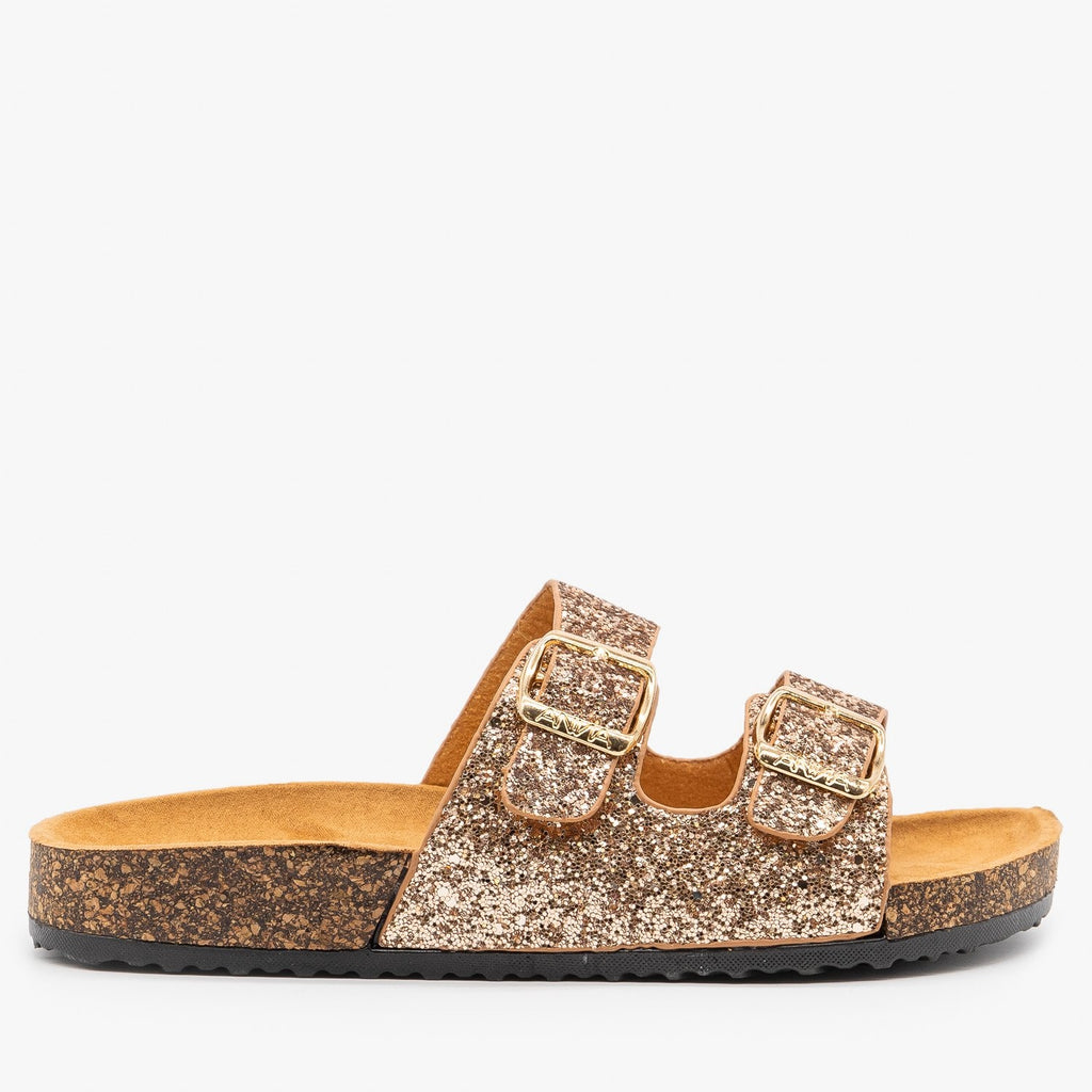 Womens Glitter Double Buckle Cork Sandals - Anna Shoes - Rose Gold / 5