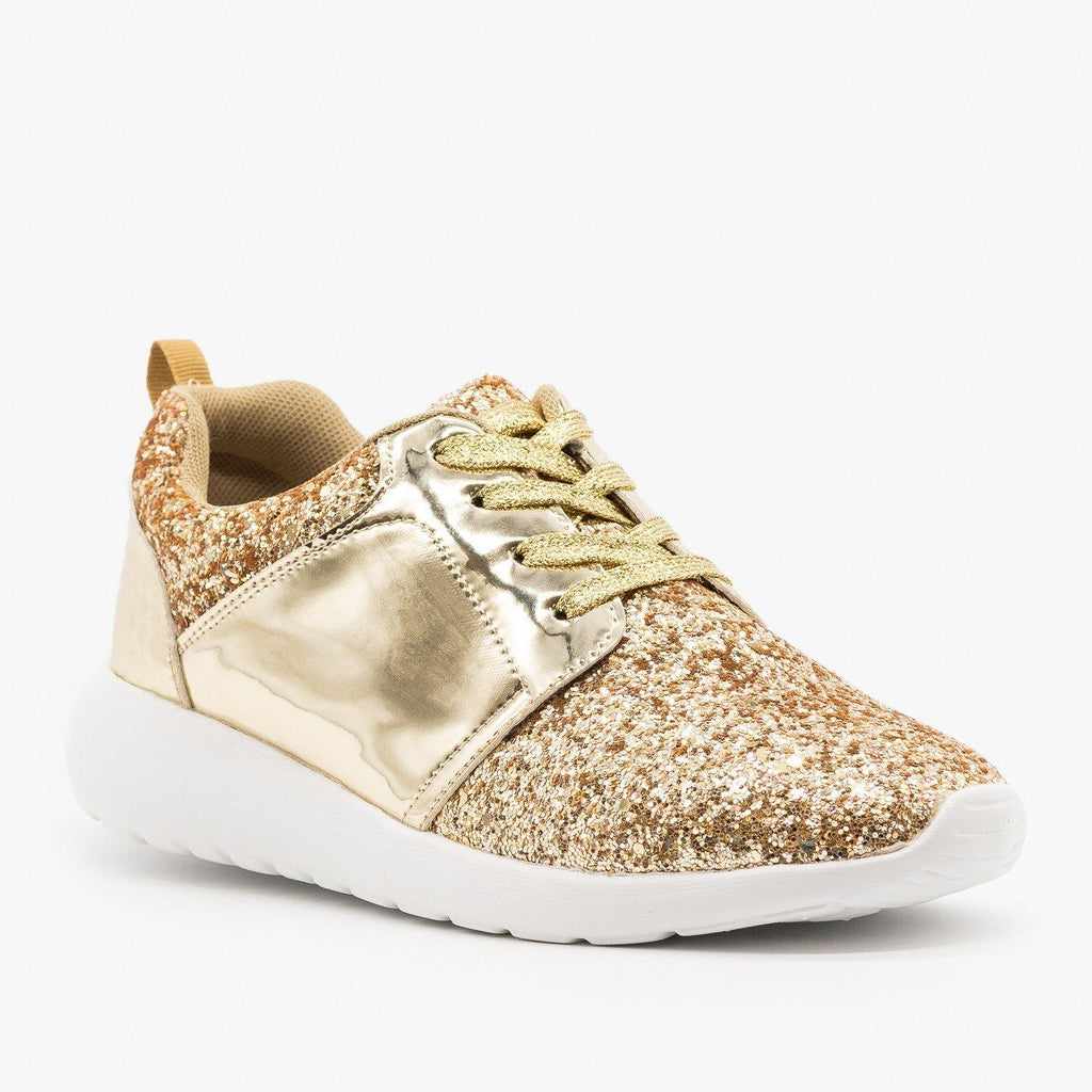 Womens Glitter Fashion Sneakers - Forever - Gold / 5