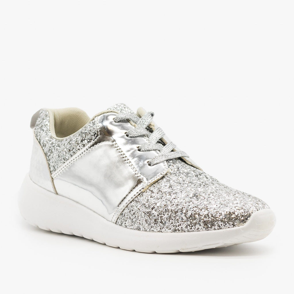 Womens Glitter Fashion Sneakers - Forever - Silver / 5