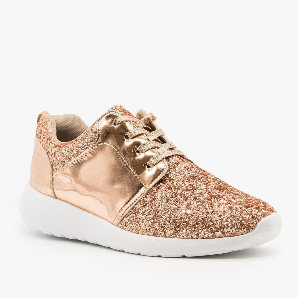 Womens Glitter Fashion Sneakers - Forever - Rose Gold / 5