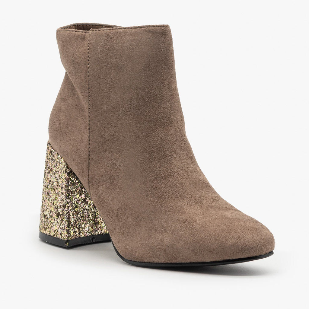 Womens Glitter Heel Booties - Nature Breeze - Taupe / 5