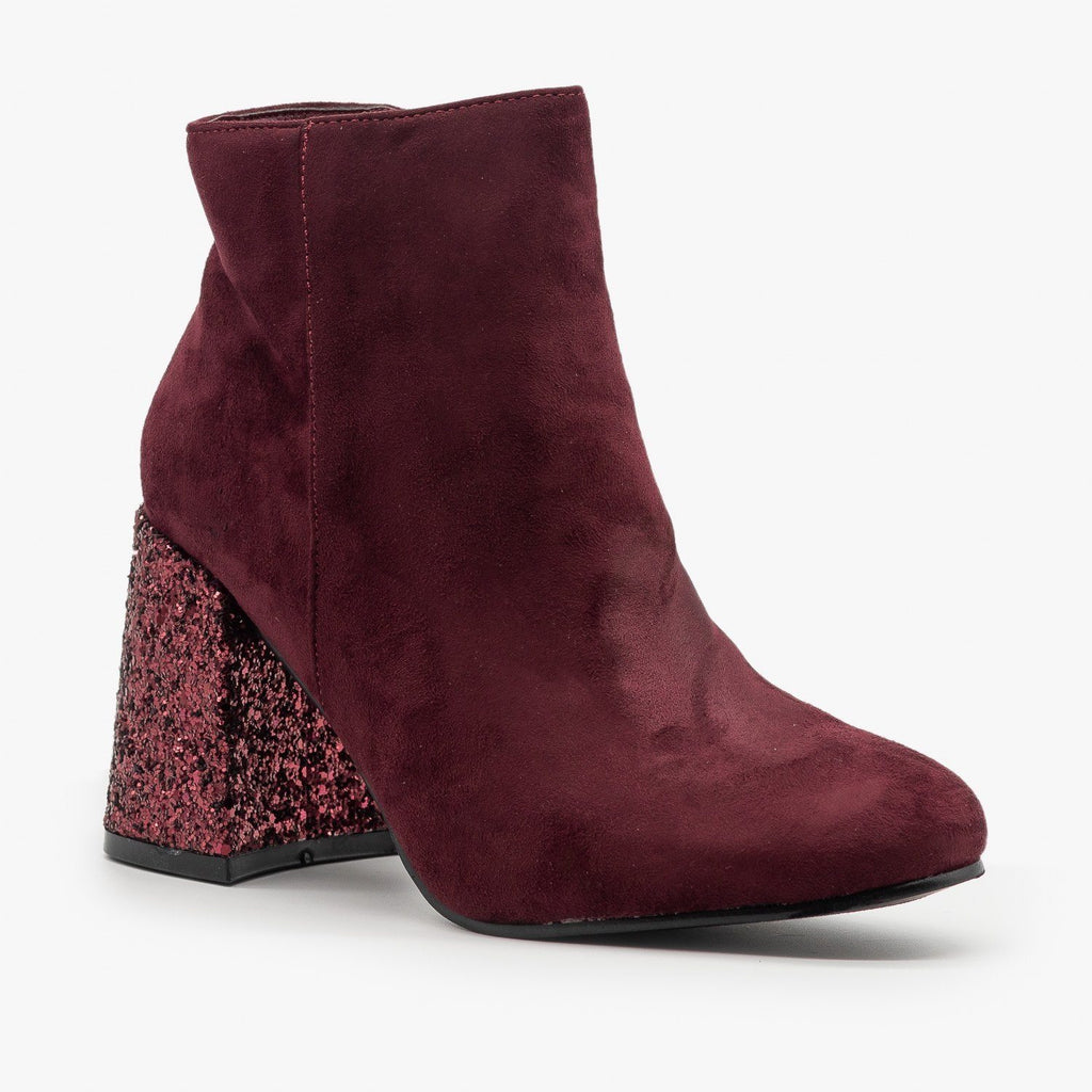 Womens Glitter Heel Booties - Nature Breeze - Burgundy / 5