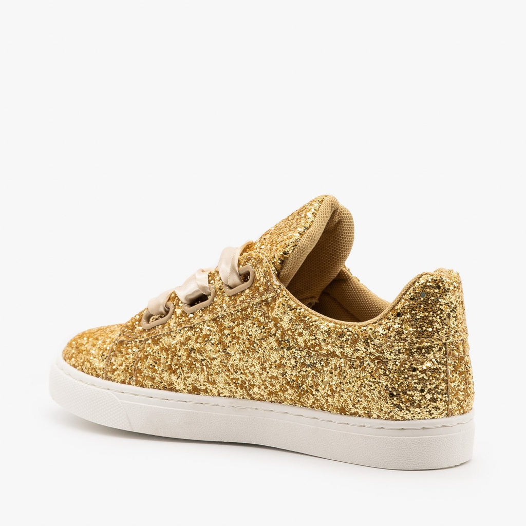 Womens Glitter Ribbon-Laced Fashion Sneakers - Forever
