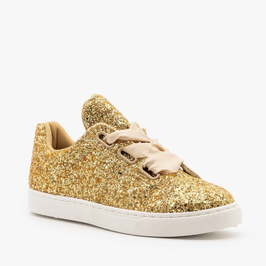 Womens Glitter Ribbon-Laced Fashion Sneakers - Forever - Gold / 5