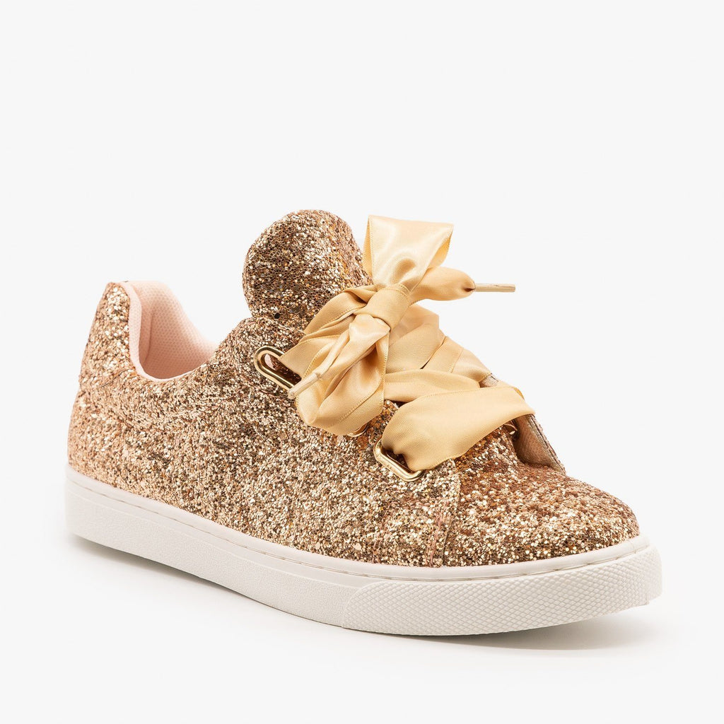 Womens Glitter Ribbon-Laced Fashion Sneakers - Forever - Rose Gold / 5