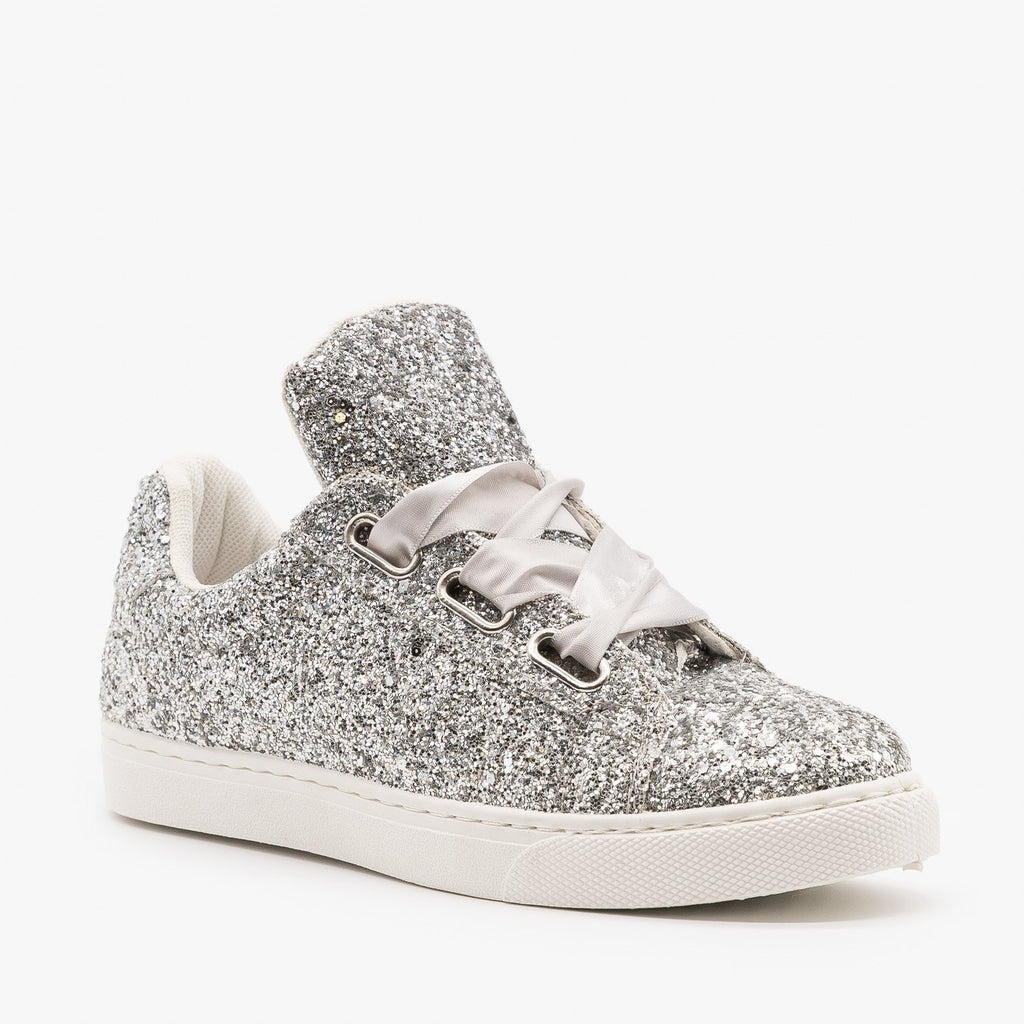 Womens Glitter Ribbon-Laced Fashion Sneakers - Forever - Silver / 5