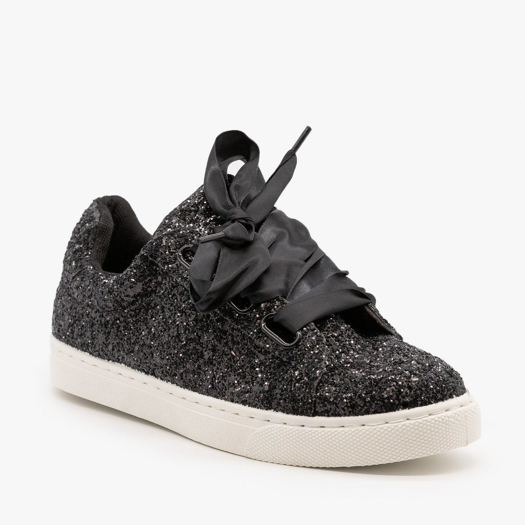 Womens Glitter Ribbon-Laced Fashion Sneakers - Forever - Black / 5